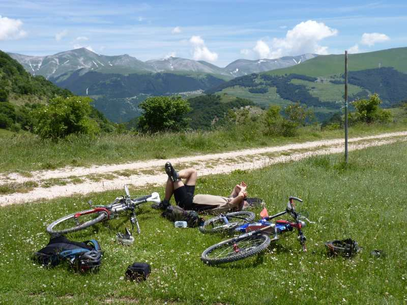 A well earned break cycling around Monte Cardosa in the Sibillini Mountains, Italy