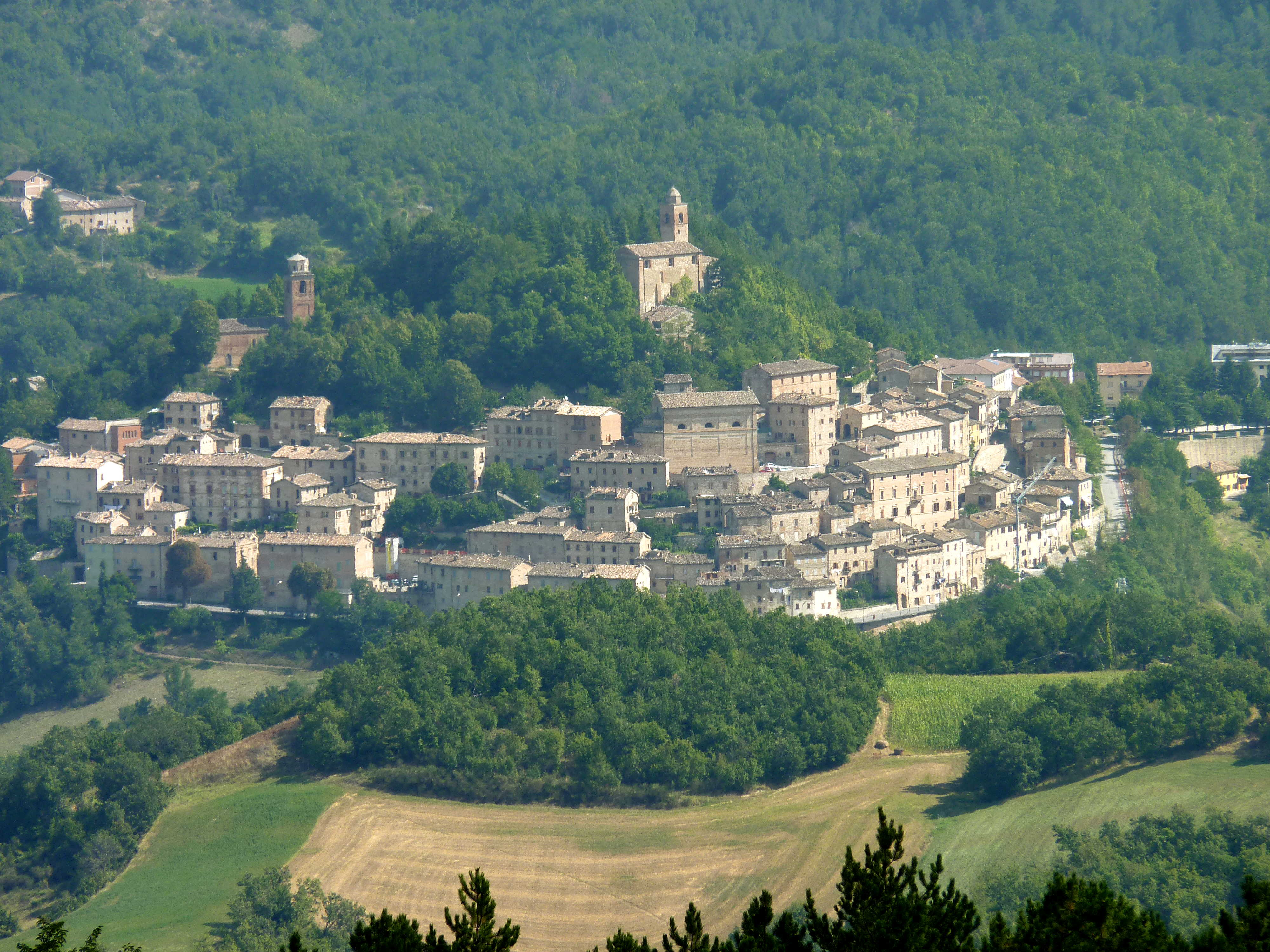 The town of Montefortino in the National Park of the Sibillini Mountains, Italy
