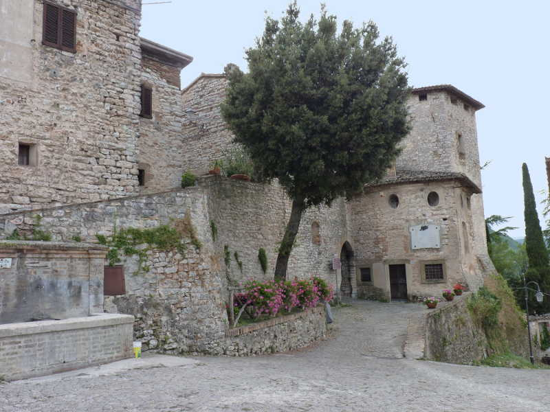 The old town wall of Pievefavera in Le Marche, Italy