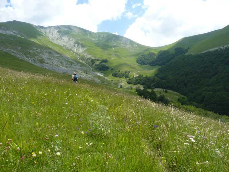 Walking above the Valle di Rio Sacro in the Sibillini Mountains, Italy